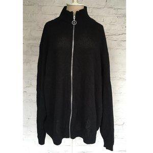 ASOS waffle knit sweater net black full zip o ring
